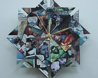 First Year Anniversary Gift for Him - Superhero Origami Clock - Super Holiday Gift for Him or Her - Geekery Gift - Groomsmen Gift
