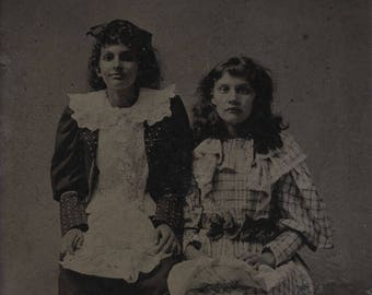 1/6 Plate Tintype Studio Portrait of Two Women Maybe Sisters in Fancy Dresses One Happy. One Sad