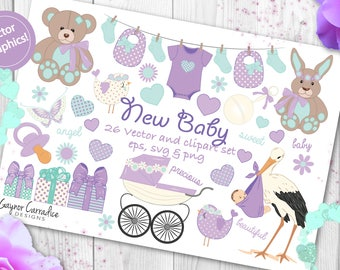 new baby clipart, gender neutral clipart, baby shower clipart, baby scrapbook clipart, neutral baby clipart, neutral baby shower