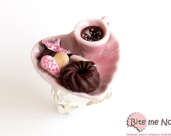 Food Jewelry Coffee and Biscuits Ring - Miniature Food Jewelry, Black Friday Sale, Polymer Clay Charm, Kawaii Jewelry