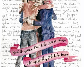 "Watercolor illustration of One Direction with ""Home"" lyrics"