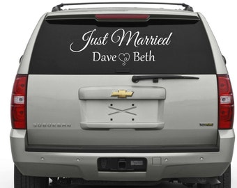 Just Married, Car Decal, Window Decal, Newlyweds Car Sign, Decal Only