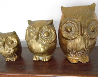 Brass owl statue. Vintage. 3 pieces