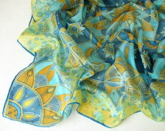 Hand painted silk scarf - gold and turquoise mandala - square scarf - one of a kind - yellow, teal, blue, gold