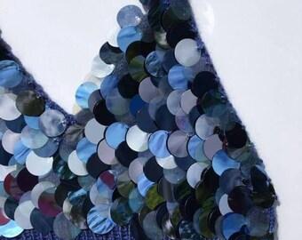 Hand Knitted Sequin Bralette/Crop Top in Denim Blue