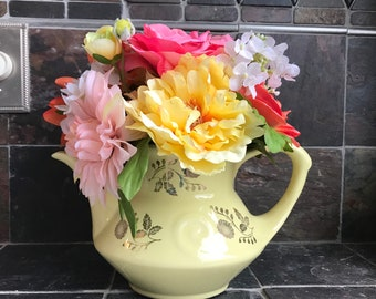Floral Arrangement with Multi-Colored Silk Flowers in a Vintage Yellow Teapot