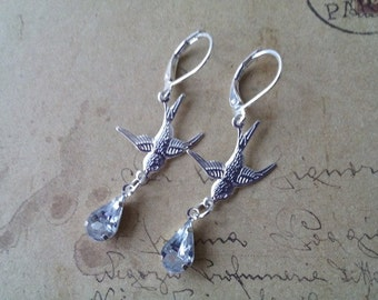 Swallow earrings with clear drops ~ silver ~