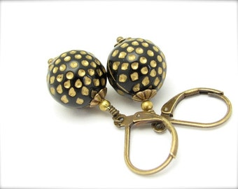 Polka Dot Earrings Black Vintage Lucite Beads Gold Dangle Drop Rockabilly Retro Mid Century Design