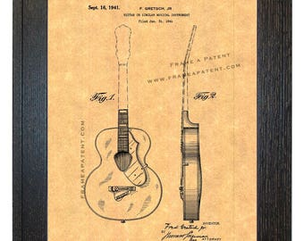 Framed Patent Art - Guitar WITH Real Rustic Wood Frame - Framed Patent Print