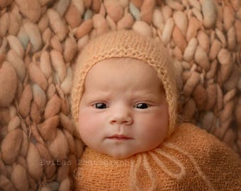 Peach baby bonnet , Newborn bonnet , Baby gurl bonnet , Mohair baby bonnet