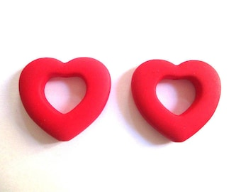 2 beads neon red heart acrylic rubberized 27x25mm