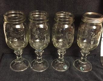 Ball Mason Pedastal Glass Canning Jar - Set of Four