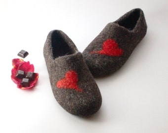 Best valentines gift for him Felted Wool Clogs Red Heart - handmade wool house shoes - eco-friendly slippers - felted slippers