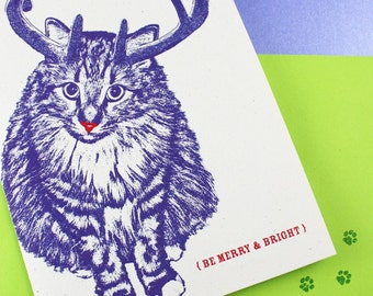 Rudolph Cat, Merry and Bright Holiday Cards - 4 Pack, Cat Christmas Cards