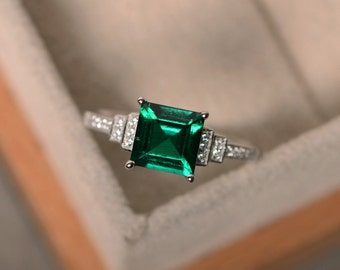 Lab created emerald ring, sterling silver, square cut engagement ring, May birthstone ring, promise ring