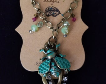 Antique gold scarab necklace