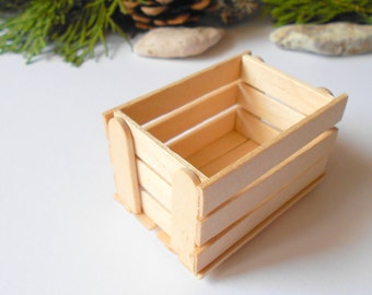 Miniature wooden crate- Plain wood -Dollhouse accesories- 1/12 scale mini wooden vintage crate- dollhouse basket box- miniature garden box
