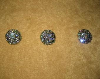 """Rhinestone Half Round Buttons 1/2""""  Blue Aurora Borealis Vintage"""
