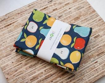 Large Cloth Napkins - Set of 4 - (N4601) - Navy Fruits Modern Reusable Fabric Napkins