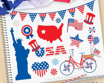 4th of July Parade, Independence Day Clipart, USA, Statue of Liberty, Memorial, President's Day, Commercial use, vector clipart, SVG Files