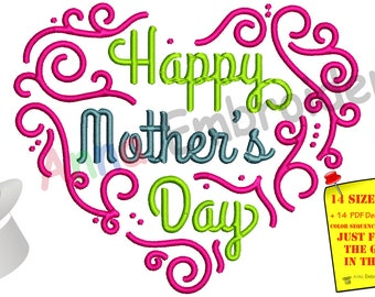 Happy Mother's Day Embroidery Design- Mom Embroidery-Heart Embroidery-Machine Embroidery Patterns-Instant Download-PES
