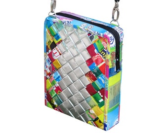 Small zip crossbody using candy wrappers - FREE SHIPPING - gift for women, vegan bag, upcycling by milo, naveh milo, green product