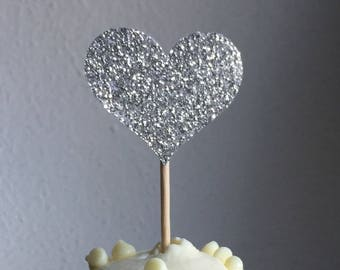 12 Silver Heart Cupcake Toppers Cake Toppers Wedding Cake Decorations Food Picks Appetizers
