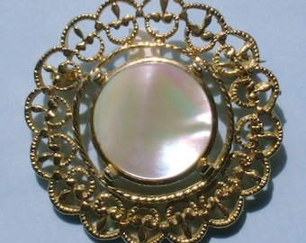 VJBRO-0003, Mother of Pearl Gold Tone 1 3/4 inch Brooch