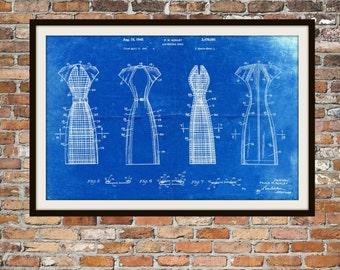 Blueprint Art of Convertible Dress 1940's Vintage Technical Drawings Engineering Drawings Patent Blue Print Art Item 0067