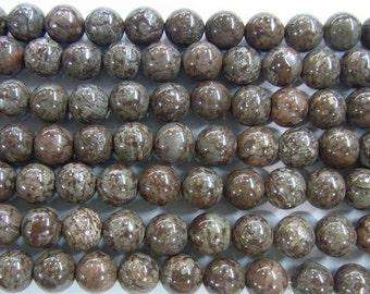 10mm Round Obsidian Snowflake Brown Semi Semiprecious Gemstone Bead Strand 15'', 38 cm  - 4448 -