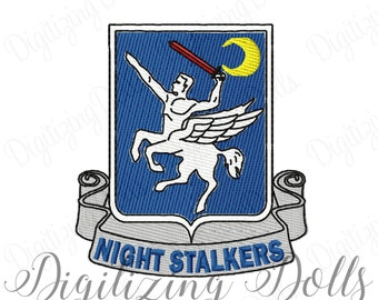 Night Stalkers Crest Solid Fill Machine Embroidery Design 3x3 3.5x3.5 4x4 Military INSTANT DOWNLOAD