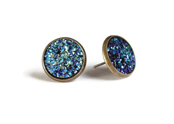 Blue green textured stud earrings - Faux Druzy earrings - Textured earrings - Post earrings - Nickel free - lead free - cadmium free (827)