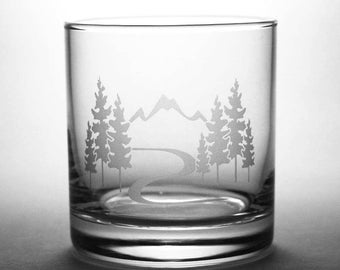 Mountain Trail Hiking Lowball Glasses - Set of 2