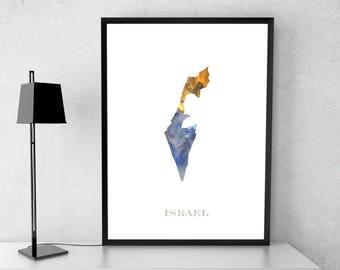 Israel poster, Israel art, Israel map, Israel print, Gift print, Poster