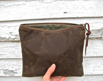 The MIDI Pouch in COCO  //  medium waxed canvas pouch bag purse wallet