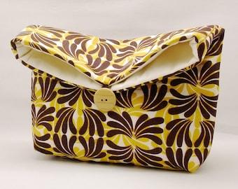Foldover clutch, Fold over bag, clutch purse, evening clutch, wedding purse, bridesmaid gifts - Brown fountain (Ref. FC53)