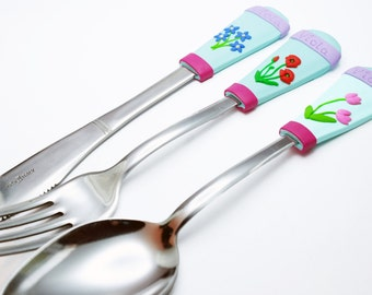 Flowers personalized cutlery set flatware with name custom spoon poppy spoon tulip daisy unique present