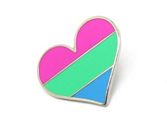 Polysexual pride pin, gay lapel pin, Polysexual flag pin, heart enamel pin, gay decoration, Lgbtq community, poly pin
