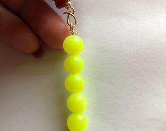 Yellow Dangle Earrings, Dangle Earrings, Beaded Earrings