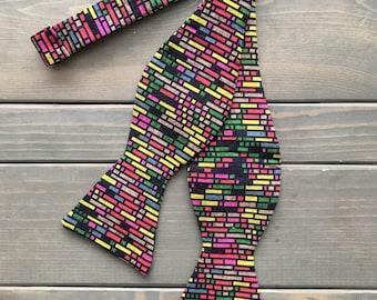 Rainbow Bow Tie - Self Tie Bow Tie - Mulit-Colored Bow Tie - Mens Suit Accessories