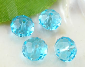 x 20 Crystal beads 8 mm blue faceted glass