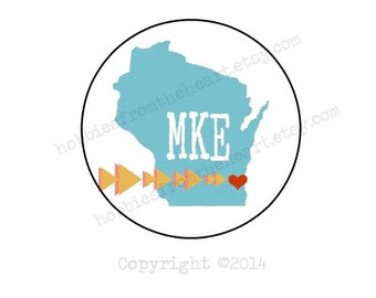 "Milwaukee Love - MKE Envelope seals- Stickers - 16 white round labels/seals 1.2"""