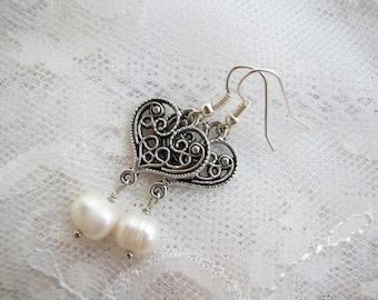 Heart earrings Pearl earrings Filigree earrings Minimalist earrings Romantic earrings Elegant earrings Simple earrings Girl gift for women
