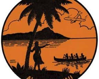 Vintage Style Aloha Hawaii Surfing Waikiki Beach  Diamond Head   Hula Girl  Travel Decal sticker