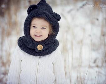 Bear cowl, knit cowl, toddler cowl, bear hat, crochet cowl, Knitted Crochet Bear Cowl Toddler Size