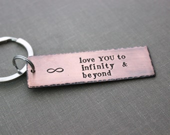 Love you to infinity and beyond, Copper Hand Stamped Keychain, Long Rectangle, Husband Gift Idea,  Antiqued rustic style, Romantic Gift