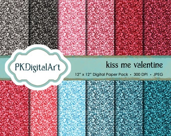 Glitter Paper Pack: Valentine Glitter Digital Papers suitable for scrapbooking, cards, background