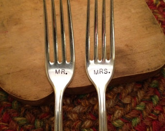 Hand Stamped Silver Dinner Forks, Wedding Forks, Mr. and Mrs. Dinner Forks, Shower Gift, Wedding