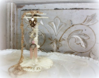 chandie candy one of a kind vintage assemblage room ornament chandelier crystals antique satin glass tubes vintage rhinestones