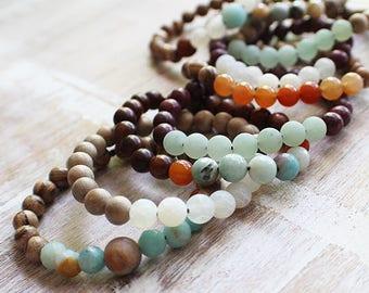 Beaded Gemstone Bracelet, Stacking Bracelets, Mala Beads, Faceted Gemstone Beads